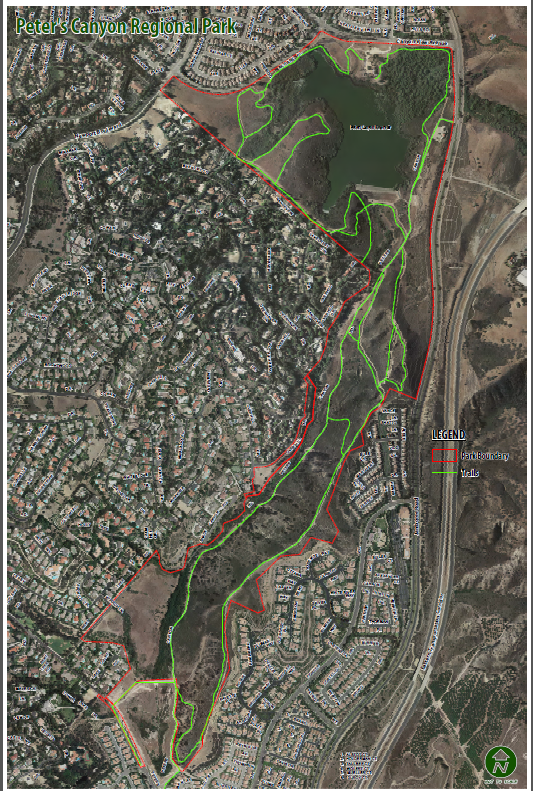 Peters Canyon Park with existing trails. The Class 1 will share right of way through the center connecting Peters Canyon Dr. in the south with Canyon View in the north.
