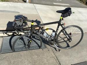 Bike wheel in drainage grate